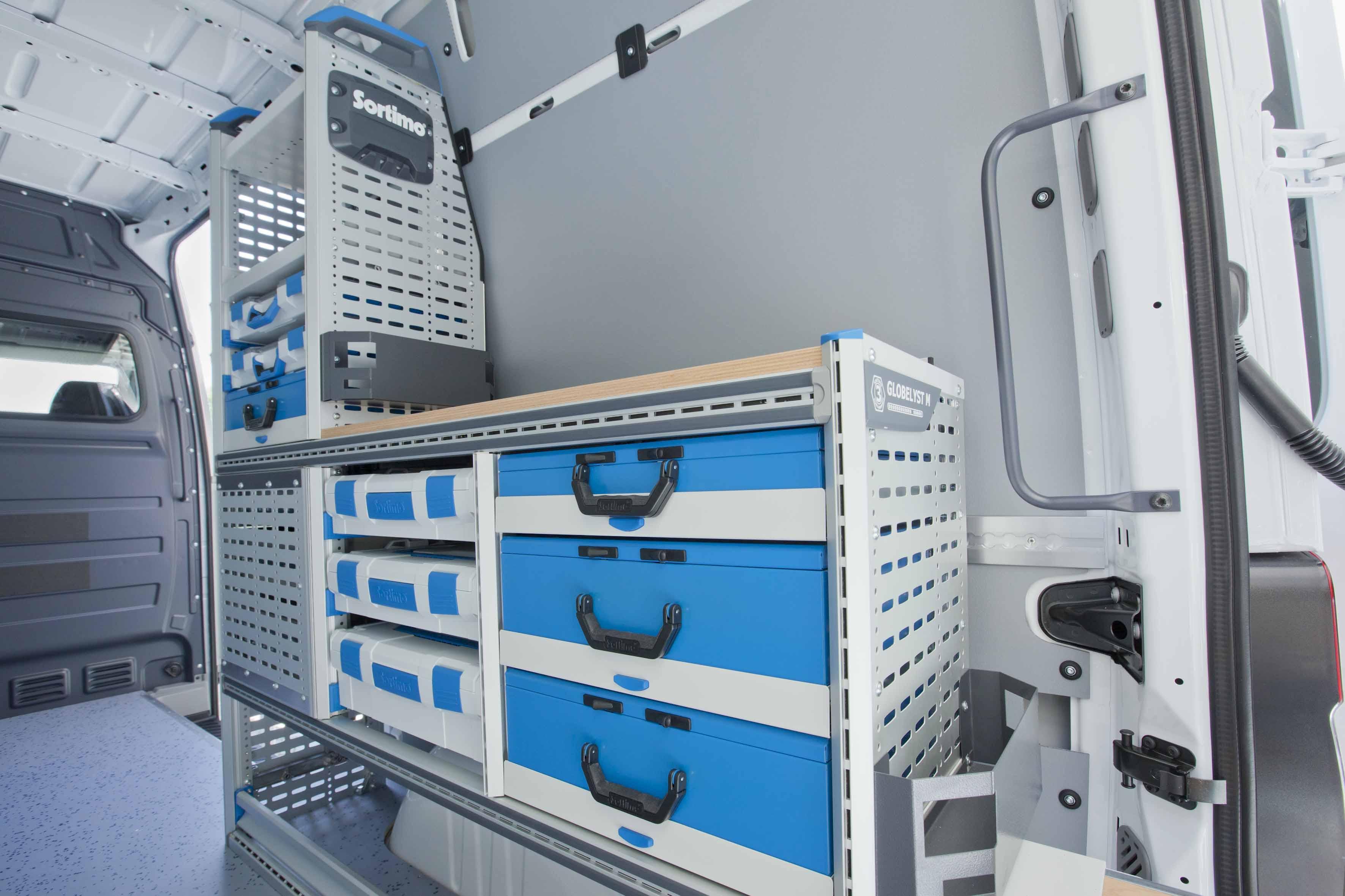 Stalen   aluminium inrichting   Bedrijfswageninrichting Teus